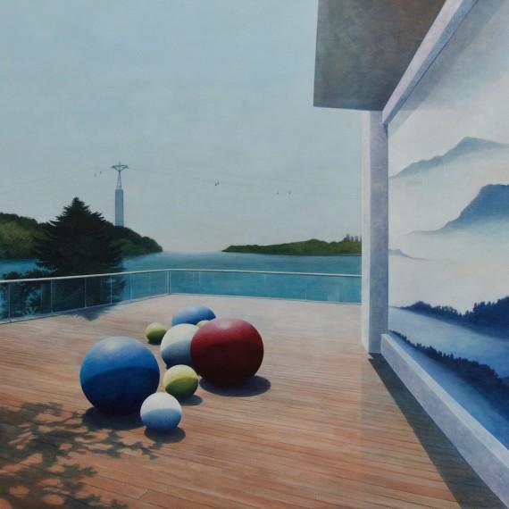 Marcel van Hoef The Terrace 150 x 130 cm. 2017